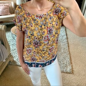 🌼Pink Rose Floral Yellow Blouse